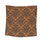 DAMASK1 BLACK MARBLE & RUSTED METAL Square Tapestry (Small)