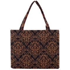 Damask1 Black Marble & Rusted Metal (r) Mini Tote Bag by trendistuff