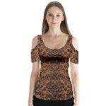 DAMASK2 BLACK MARBLE & RUSTED METAL Butterfly Sleeve Cutout Tee