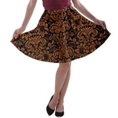 Damask2 Black Marble & Rusted Metal (r) A Line Skater Skirt by trendistuff
