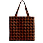 HOUNDSTOOTH1 BLACK MARBLE & RUSTED METAL Zipper Grocery Tote Bag