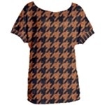 HOUNDSTOOTH1 BLACK MARBLE & RUSTED METAL Women s Oversized Tee
