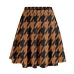HOUNDSTOOTH1 BLACK MARBLE & RUSTED METAL High Waist Skirt