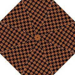 Houndstooth2 Black Marble & Rusted Metal Golf Umbrellas by trendistuff