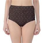 HEXAGON1 BLACK MARBLE & RUSTED METAL (R) High-Waist Bikini Bottoms
