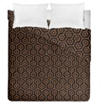HEXAGON1 BLACK MARBLE & RUSTED METAL (R) Duvet Cover Double Side (Queen Size)