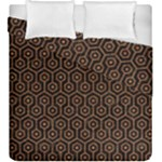 HEXAGON1 BLACK MARBLE & RUSTED METAL (R) Duvet Cover Double Side (King Size)