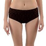 HEXAGON1 BLACK MARBLE & RUSTED METAL (R) Reversible Mid-Waist Bikini Bottoms