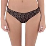 HEXAGON1 BLACK MARBLE & RUSTED METAL (R) Reversible Hipster Bikini Bottoms
