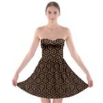 HEXAGON1 BLACK MARBLE & RUSTED METAL (R) Strapless Bra Top Dress