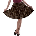 HEXAGON1 BLACK MARBLE & RUSTED METAL (R) A-line Skater Skirt