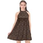 HEXAGON1 BLACK MARBLE & RUSTED METAL (R) Halter Neckline Chiffon Dress
