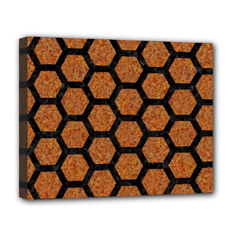 Hexagon2 Black Marble & Rusted Metal Deluxe Canvas 20  X 16   by trendistuff