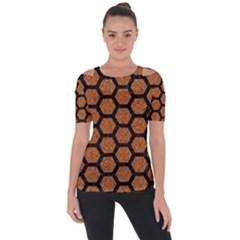Hexagon2 Black Marble & Rusted Metal Short Sleeve Top by trendistuff