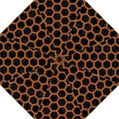 Hexagon2 Black Marble & Rusted Metal (r) Hook Handle Umbrellas (medium) by trendistuff