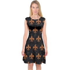 Royal1 Black Marble & Rusted Metal Capsleeve Midi Dress by trendistuff