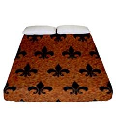 Royal1 Black Marble & Rusted Metal (r) Fitted Sheet (queen Size) by trendistuff