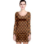 SCALES1 BLACK MARBLE & RUSTED METAL Long Sleeve Bodycon Dress