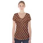 SCALES1 BLACK MARBLE & RUSTED METAL Short Sleeve Front Detail Top