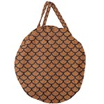 SCALES1 BLACK MARBLE & RUSTED METAL Giant Round Zipper Tote