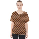 SCALES1 BLACK MARBLE & RUSTED METAL V-Neck Dolman Drape Top