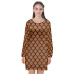 SCALES1 BLACK MARBLE & RUSTED METAL Long Sleeve Chiffon Shift Dress