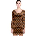 SCALES3 BLACK MARBLE & RUSTED METAL Long Sleeve Bodycon Dress