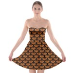 SCALES3 BLACK MARBLE & RUSTED METAL Strapless Bra Top Dress