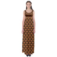 Scales3 Black Marble & Rusted Metal Empire Waist Maxi Dress by trendistuff