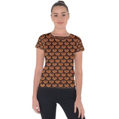 Scales3 Black Marble & Rusted Metal Short Sleeve Sports Top  by trendistuff
