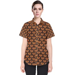 Scales3 Black Marble & Rusted Metal Women s Short Sleeve Shirt by trendistuff