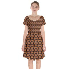 Scales3 Black Marble & Rusted Metal Short Sleeve Bardot Dress by trendistuff