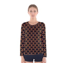 Scales3 Black Marble & Rusted Metal (r) Women s Long Sleeve Tee by trendistuff