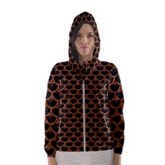 Scales3 Black Marble & Rusted Metal (r) Hooded Wind Breaker (women) by trendistuff