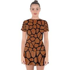 Skin1 Black Marble & Rusted Metal (r) Drop Hem Mini Chiffon Dress by trendistuff