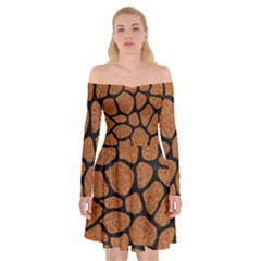 Skin1 Black Marble & Rusted Metal (r) Off Shoulder Skater Dress by trendistuff
