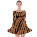SKIN3 BLACK MARBLE & RUSTED METAL Long Sleeve Skater Dress