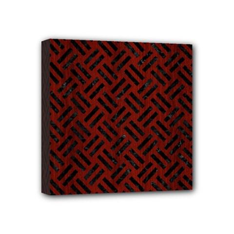 Woven2 Black Marble & Reddish Brown Wood Mini Canvas 4  X 4  by trendistuff