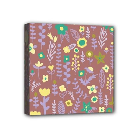 Cute Doodle Flowers 3 Mini Canvas 4  X 4  by tarastyle