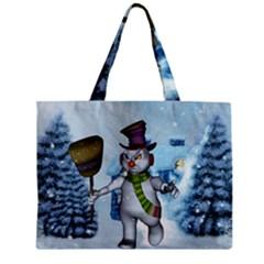 Funny Grimly Snowman In A Winter Landscape Zipper Mini Tote Bag by FantasyWorld7