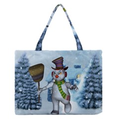 Funny Grimly Snowman In A Winter Landscape Zipper Medium Tote Bag by FantasyWorld7