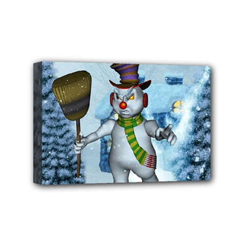 Funny Grimly Snowman In A Winter Landscape Mini Canvas 6  X 4  by FantasyWorld7