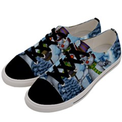 Funny Grimly Snowman In A Winter Landscape Men s Low Top Canvas Sneakers by FantasyWorld7