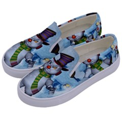Funny Grimly Snowman In A Winter Landscape Kids  Canvas Slip Ons by FantasyWorld7