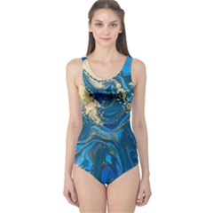 Ocean Blue Gold Marble One Piece Swimsuit by 8fugoso