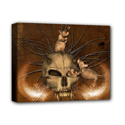 Awesome Skull With Rat On Vintage Background Deluxe Canvas 14  X 11  by FantasyWorld7