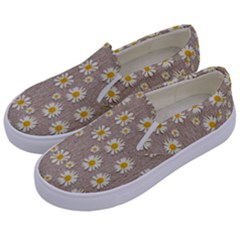 Star Fall Of Fantasy Flowers On Pearl Lace Kids  Canvas Slip Ons by pepitasart