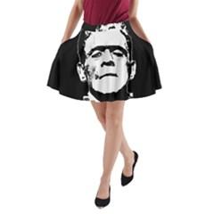 Frankenstein s Monster Halloween A Line Pocket Skirt by Valentinaart