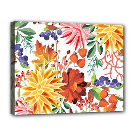 Autumn Flowers Pattern 1 Canvas 14  X 11  by tarastyle