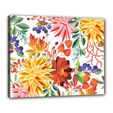 Autumn Flowers Pattern 1 Canvas 20  X 16  by tarastyle